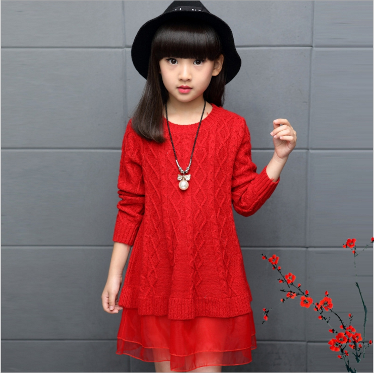 New 2017 Baby Girls Sweaters Dress Long Style Sweaters Kids Autumn Winter Children Clothing Slim Knit Girls Dress Vetement Fille girls dress winter 2016 new children clothing girls long sleeved dress 2 piece knitted dress kids tutu dress for girls costumes