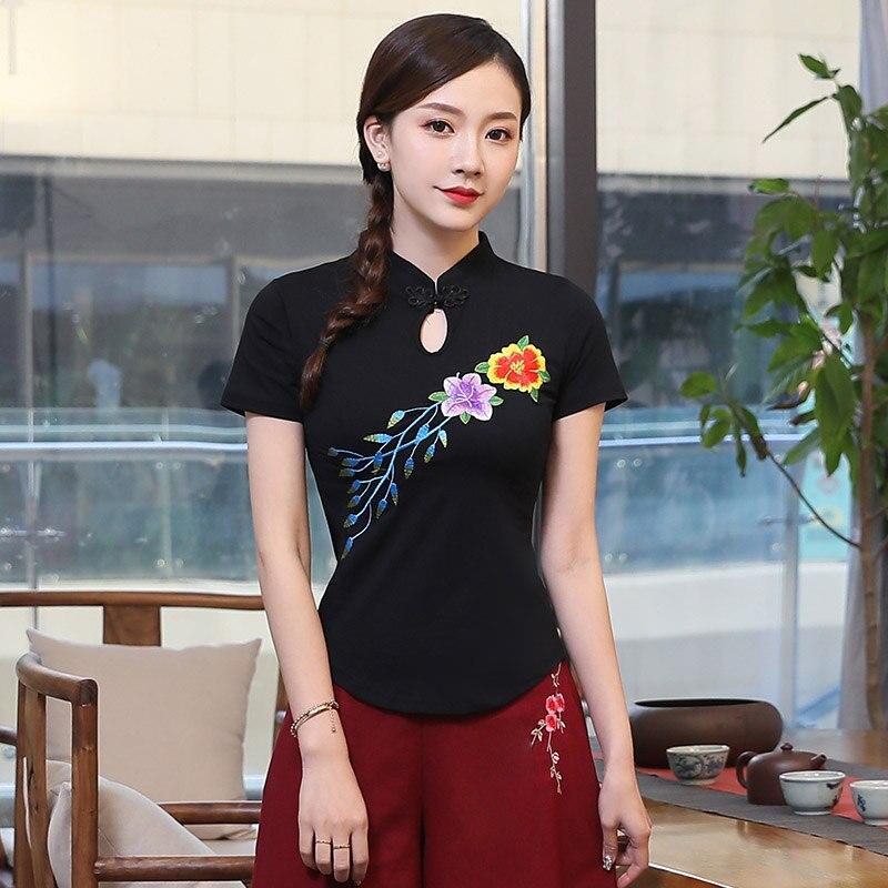 Женская летняя Этническая Элегантная блузка с воротником стойкой и коротким рукавом, черная, белая, зеленая, Красная Вышивка, традиционная китайская рубашка, Топ Блузки и рубашки      АлиЭкспресс