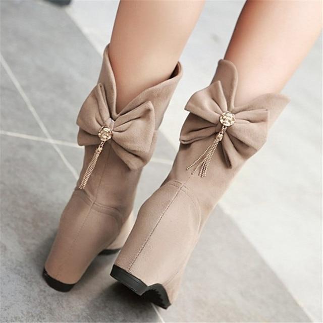 Плюс Размеры 34–43 новые модные повседневные зимние сапоги из флока увеличивающие рост женские без застежки ботинки до середины икры женские флоковые теплые зимние ботинки