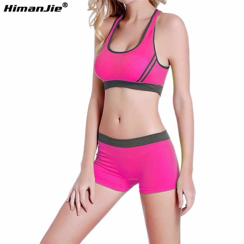 46c6a78a6e5 ... Women Yoga Sets Tank Top   Shorts Breathable Seamless Sports Bras and Stretch  Shorts Running Fitness ...