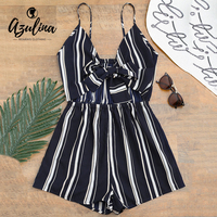 AZULINA Women Playsuit Romper Striped Bow Tied Cami Beach New Fashion Sexy Rompers Overalls Sweet Casual