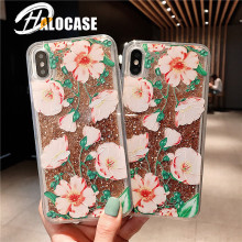 Floral Silicon Case For iPhone XR XS Max X Glitter Gold Foil Lace Flower Phone Cases for 7 8 6 6s Plus Clear Cover