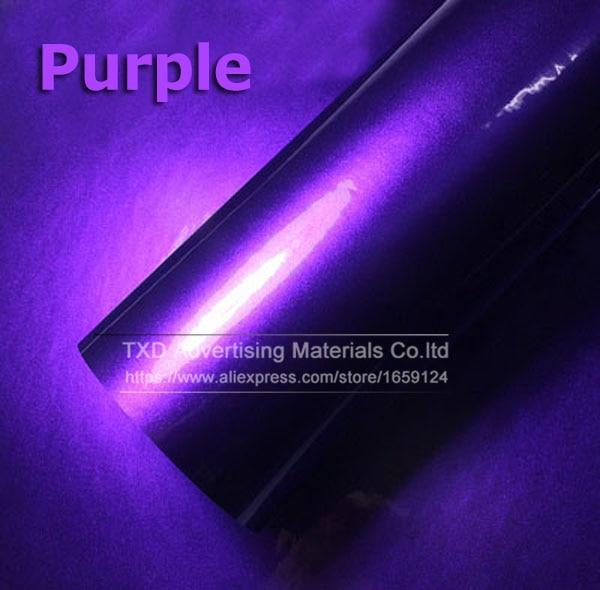 Премиум качество 10/20/30/40/50/60X152 см/лот красный металлик глянцевый блеск обертывание наклейка для автомобиля обертывание s глянцевые конфеты золото виниловая пленка - Название цвета: purple