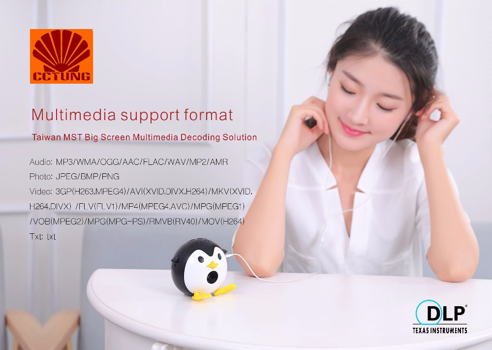 400Lumen Cute Penguin WIFI Micro DLP Mobile LED Projector Support 1080P TF USB HDMI AV & IOS Android Input with Battery Built-in_10