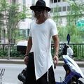 Harajuku Mens T Shirts Moda 2017 Vestido de Verano Tops Camisetas Side Lace Up Irregular Diseñador Hombres Camiseta Blanca de Manga Corta negro