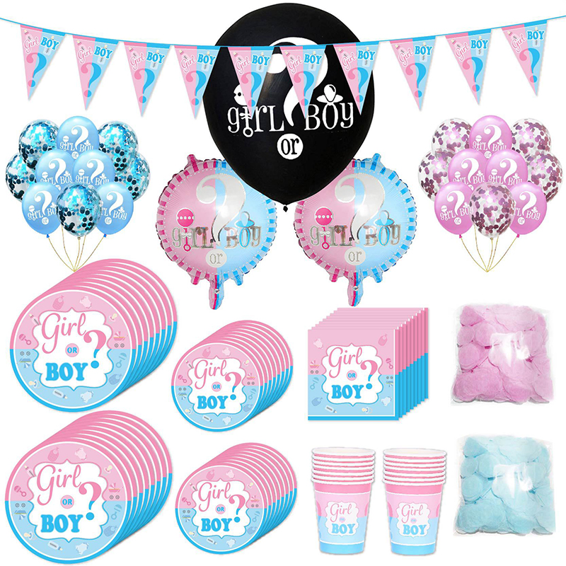 Us 1 8 24 Off Baby Sex Reveal Party Decoration Cloth Paper Towel Tablecloth Tray Balloon Party Set Baby Shower In Party Diy Decorations From Home