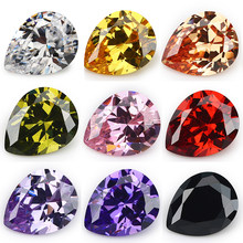 Size 2x3~13x18mm Pear Shape White,Pink,Orange,Violet,Golden 5A Cubic Zirconia Stone Synthetic Gems CZ stone For Jewelry