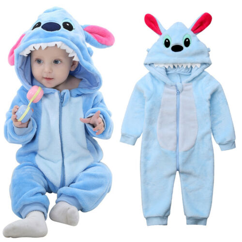 US Newborn Baby Boy Stitch Flannel Zipper Hooded Romper Jumpsuit Outfit Clothes