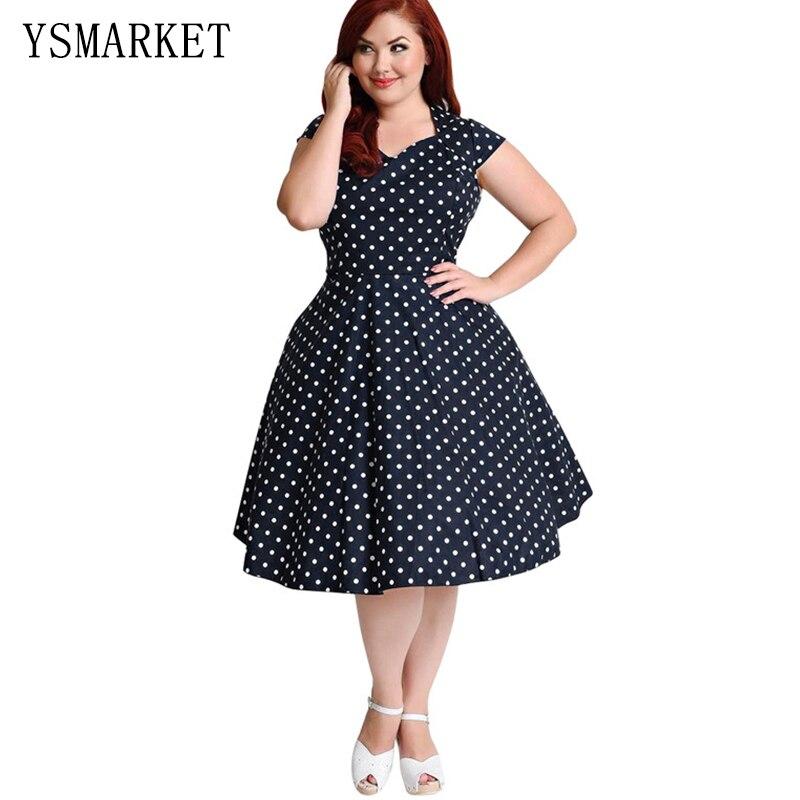 11108d6d947 Women Summer Print Party Vintage Midi Dress Black White Polka Dot Rockabilly  Plus Size A Line Swing Vestidos 6XL Dresses E104-in Dresses from Women s ...