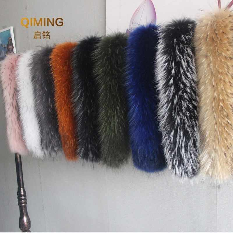 100% Winter Natural Jacket Fur Collar Real Raccoon Fur Women Scarves Coat Female Neck Cap Long Warm Genuine Fur Scarf Big Size