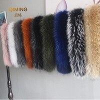 100% Winter Natural Jacket Fur Collar Real Raccoon Fur Women Scarves Coat Female Neck Cap Long Warm Genuine Fur Scarf Big Size