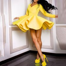 Casual Party Dress Women Mini Sexy A Line Big Swing Ruffle Elegant Yellow Vintage Long Sleeve Autumn Ladies Blue Short Dresses
