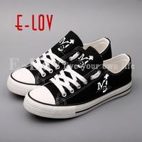E LOV Custom Printed Michael Jackson Canvas Shoes Low Top Men Boys Hip Hop Flat Shoes