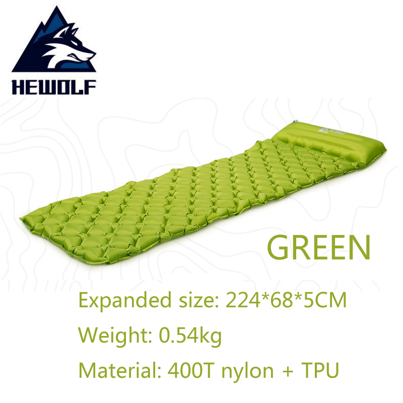 HEWOLF Outdoor Inflatable Cushion Air Mattress Portable Ultralight Air Bed Moistureproof Camping Mat With Pillow Sleeping Pad in Camping Mat from Sports Entertainment