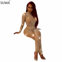 Sparkly Style Rompers Women Jumpsuit Mesh Rhinestone Bodysuit Full Length Party Elegant Jumpsuit Playsuit Q034