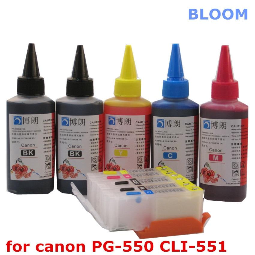For CANON PIXMA MG5450 MG5550 MG6450 Ip7250 MX925 MX725 IX6850 printer PGI 550 refillable ink cartridge+ 5 Color Dye Ink 100ml|bk ink|bk fashionbk amp - title=
