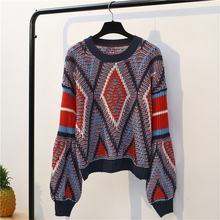 DoreenBow New Fashion Women Autumn Winter Sweater Female Thick Warm Patchwork Print Knitted Sweaters Pullovers Chic Vintage