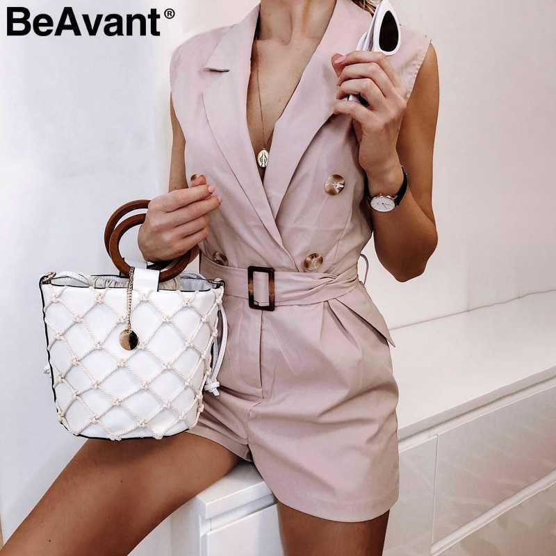 Beavant escritório senhoras macacão das mulheres macacão feminino verão curto algodão macacão com decote em v botões combinaison femme