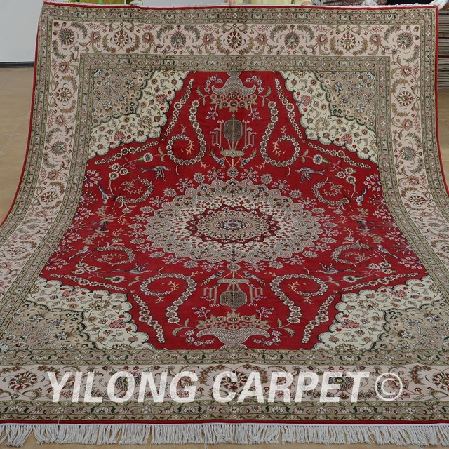 Yilong 8 X10 Vantage Tabriz Carpet Wool Red Carpet Exquisite