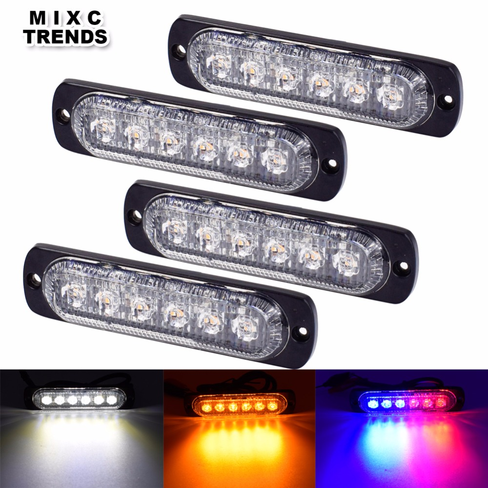 4x6 LED Strobe Marker Lights Car Motorcycle Trucks Flashing Blink Flasher Warning Lights Steady lights up Daytime Running Light