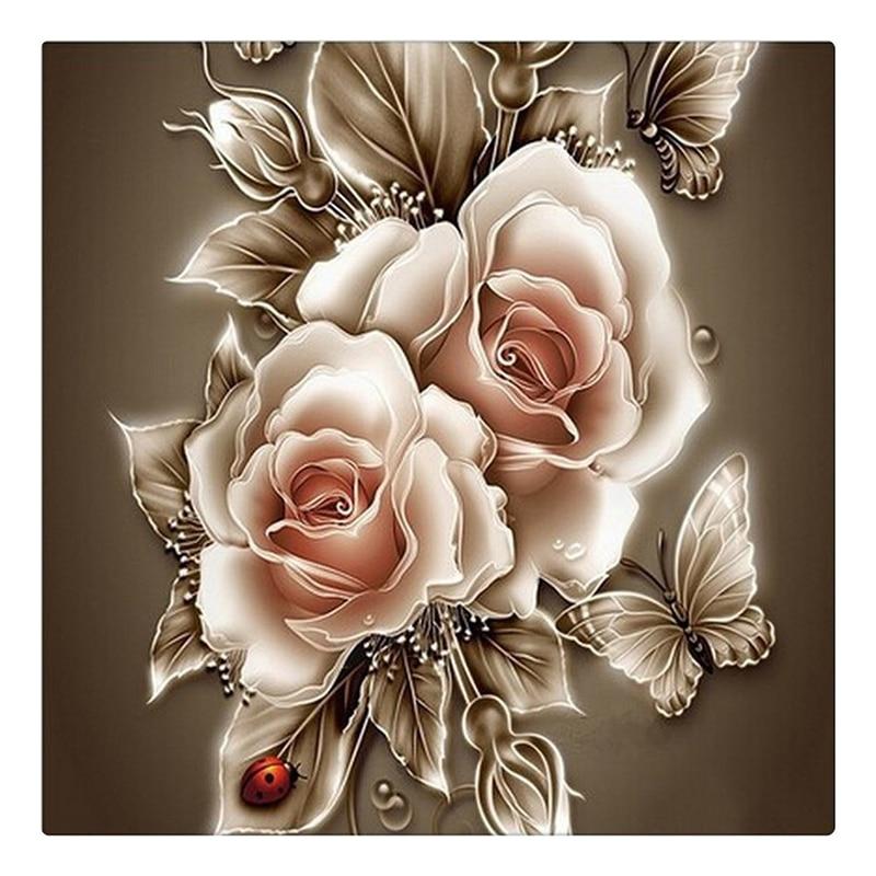 Rhinestone pintura cristal Decoración para el hogar DIY diamante pintura rosa y mariposa 3D Cruz puntada patrón diamante bordado b029 cx