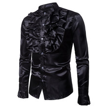 Emulation Silk Shirt Men 2018 Autumn New Slim Fit Long Sleeve Silk Satin Mens Dress Shirts Men Party Wedding Tuxedo Shirt Male(China)