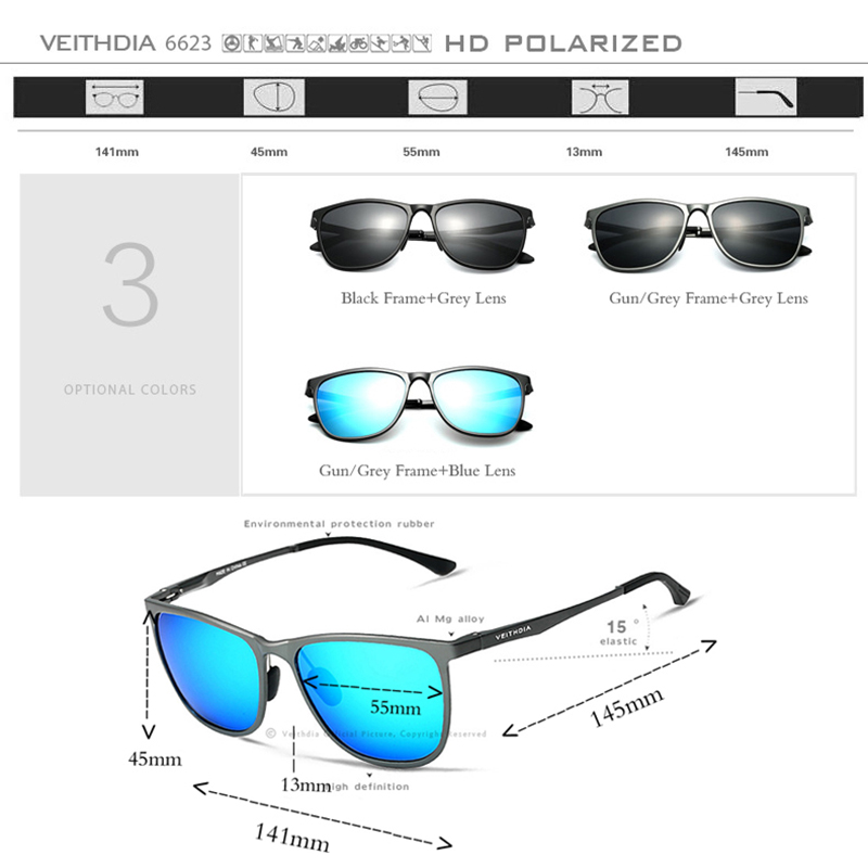 VEITHDIA Retro Aluminum Magnesium Brand Men's Sunglasses Polarized - Apparel Accessories - Photo 4