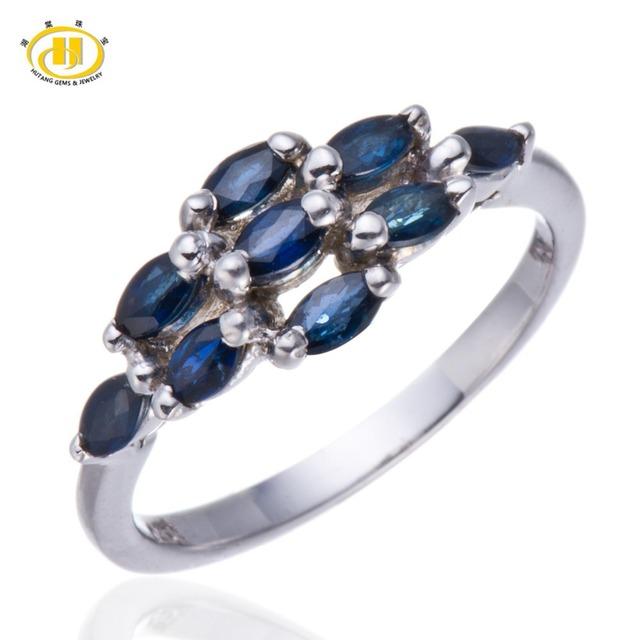 Hutang Natural Blue Sapphire Gemstone Sólido Anillo de Plata 925 Mujeres Joyería Fina