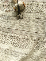 ivory cotton Lace Fabric, ivory lace fabric, crocheted lace fabric, antique lace fabric 1yard
