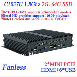 Industrial Control Pc IPC Fanless Mini Pc Celeron C1037u 1.8 GHz 6 COM VGA HDMI RJ45 2G RAM 64G SSD Windows Or Linux