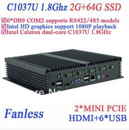 Industrial Control Pc IPC Fanless Mini Pc Celeron C1037u 1.8 GHz 6 COM VGA HDMI RJ45 2G RAM 64G SSD Windows Or Linux