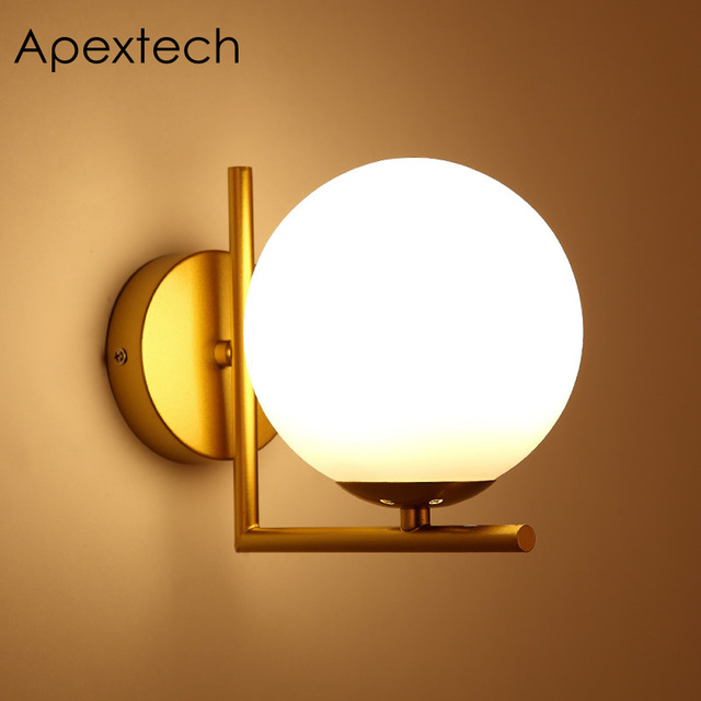 Apextech Modern Artistic Wall Lamp Sphere Glass Lamp Shade Fashion Bedroom Night Lights For Indoor Decoration Lighting Wall Lamp