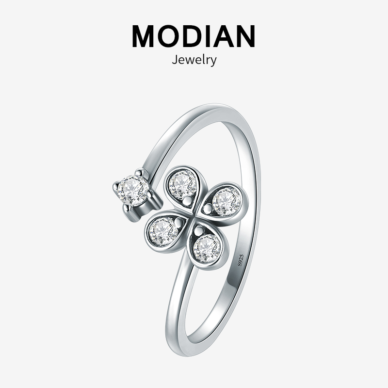 Modian Sparkling Flower Clover Ring 100% 925 Sterling Silver Adjustable Clear Zircon Lucky Fashion Charm Rings For Women Jewelry