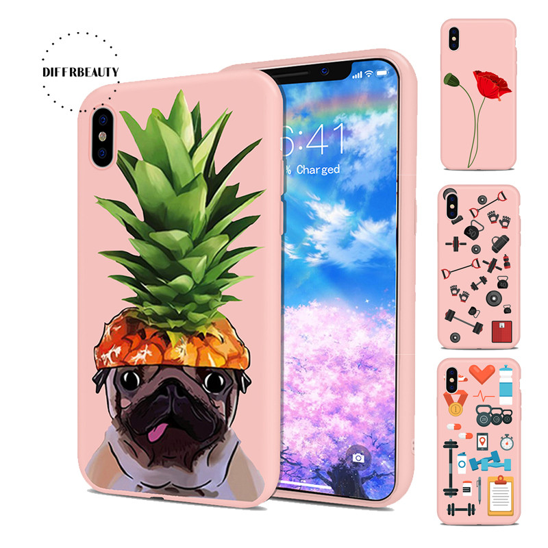 DIFFRBEAUTY Summer Pineapple Dog Animal Sports Equipment Snowflake Cute Cartoon TPU Phone Case For iPhoneX 8 8Plus 6 7 6Plus 5