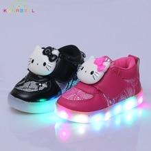 2017 Nouveau Filles Allumées Chaussures Enfants Bonjour Kitty Glowing Sneakers enfants Casual Appartements Chaussures Avec Led Lumière Bébé Filles Chaussures C209