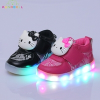 2017 New Girls Lighted Shoes Children Hello Kitty Glowing Sneakers Kids Casual Flats Shoes With Led