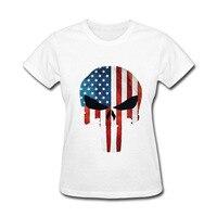 2017 Tops Unisex LUCKY FRIDAYF Punisher Skull Bandera Americana de Algodón divertidos de la camiseta de las mujeres