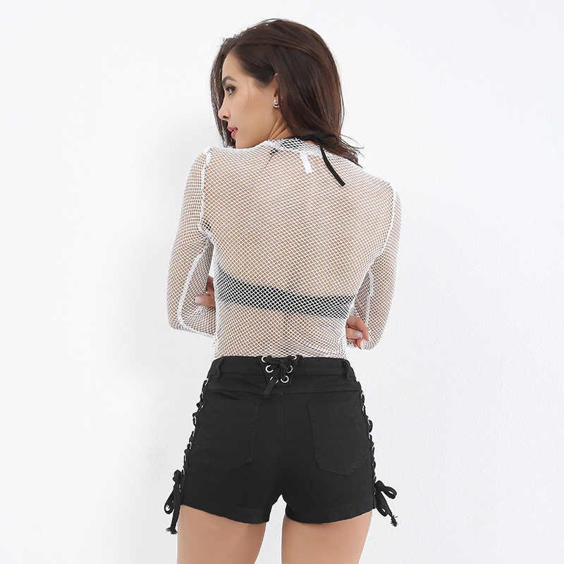 2018 новая стильная рыболовная сеть прозрачные черные рубашки женские сексуальные с длинным рукавом комбинезон сетчатый комбинезон чистая Клубная одежда