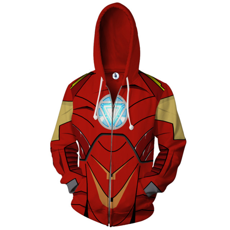 Avenger 3 Iron Man hoodies Cosplay Costume Autumn men and women anime 3D Printing zipper Jacket Hooded Coat