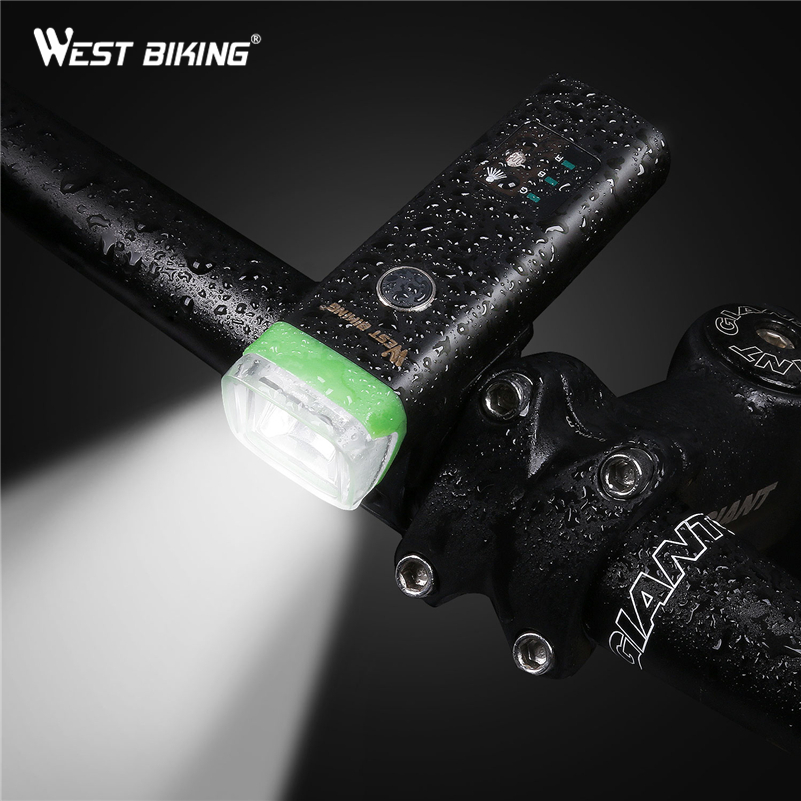 WEST BIKING Intelligent Bicycle Light Sensor Auto <font><b>Lamp</b></font> Waterproof USB Rechargeable Cycling Warning Flashlight 4 Modes Bike Light