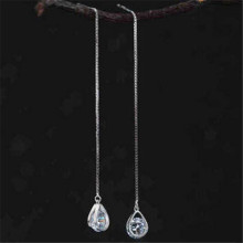 100% Pure 925 Sterling Silver Long Zirconia Waterdrop Earrings For Women Girls Christmas Gift Hot sterling-silver-jewelry