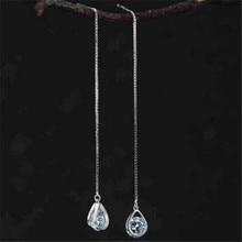 100% Pure 925 Sterling Silver Long Zirconia Waterdrop Earrings For Women Girls Christmas Gift Hot sterling-silver-jewelry 925 pure silver christmas bells silver pendants