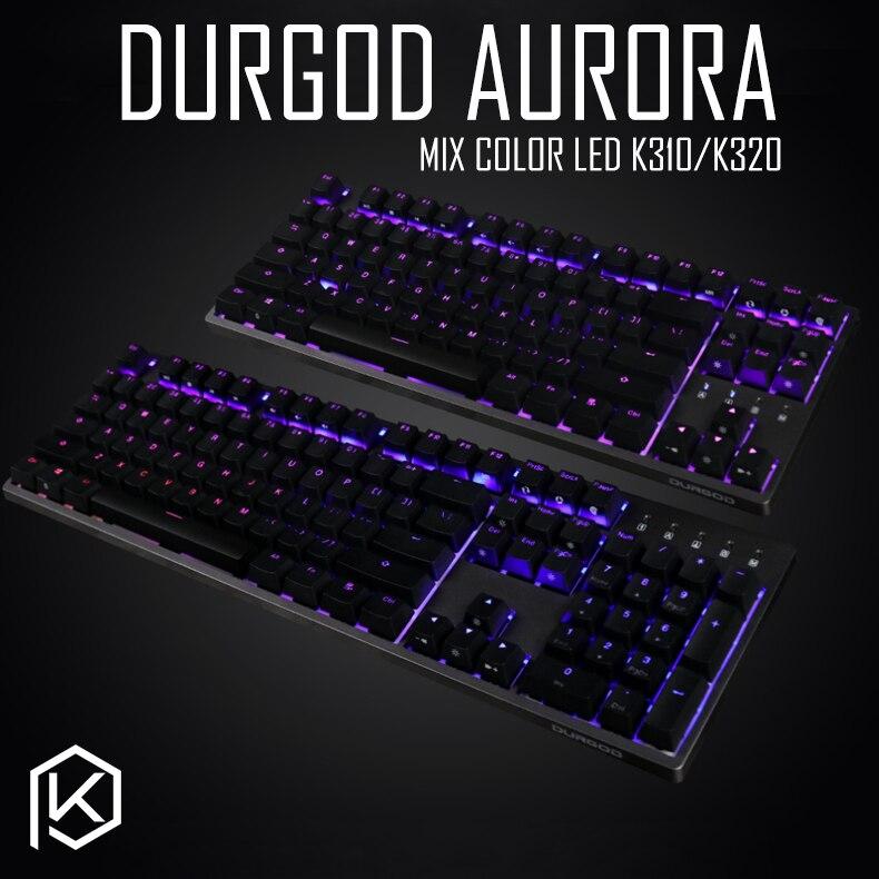 durgod 87 104 k320 k310 aurora mechanical lighting keyboard cherry mx pbt doubleshot keycaps brown blue