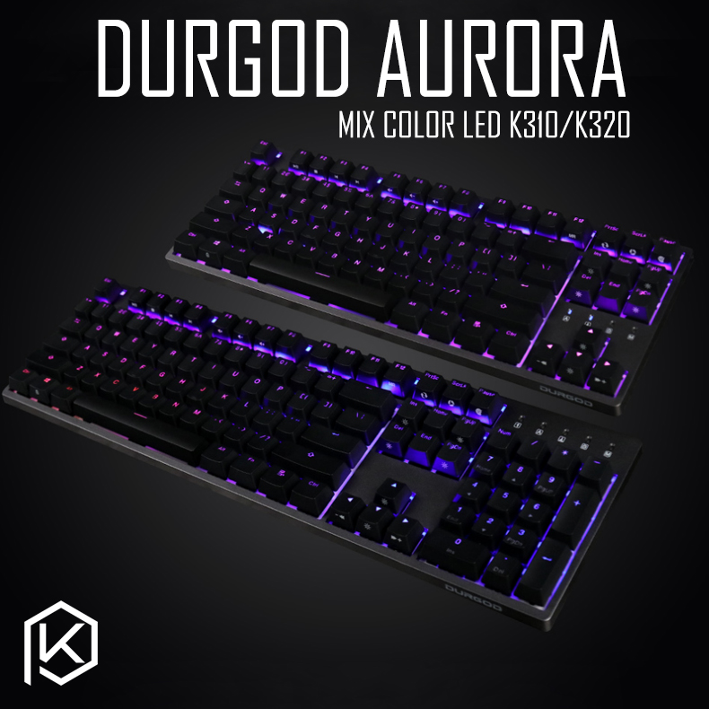 durgod 87 104 k320 k310 aurora mechanical lighting keyboard cherry mx pbt doubleshot keycaps brown blue black red silver switch-in Keyboards from Computer & Office    1