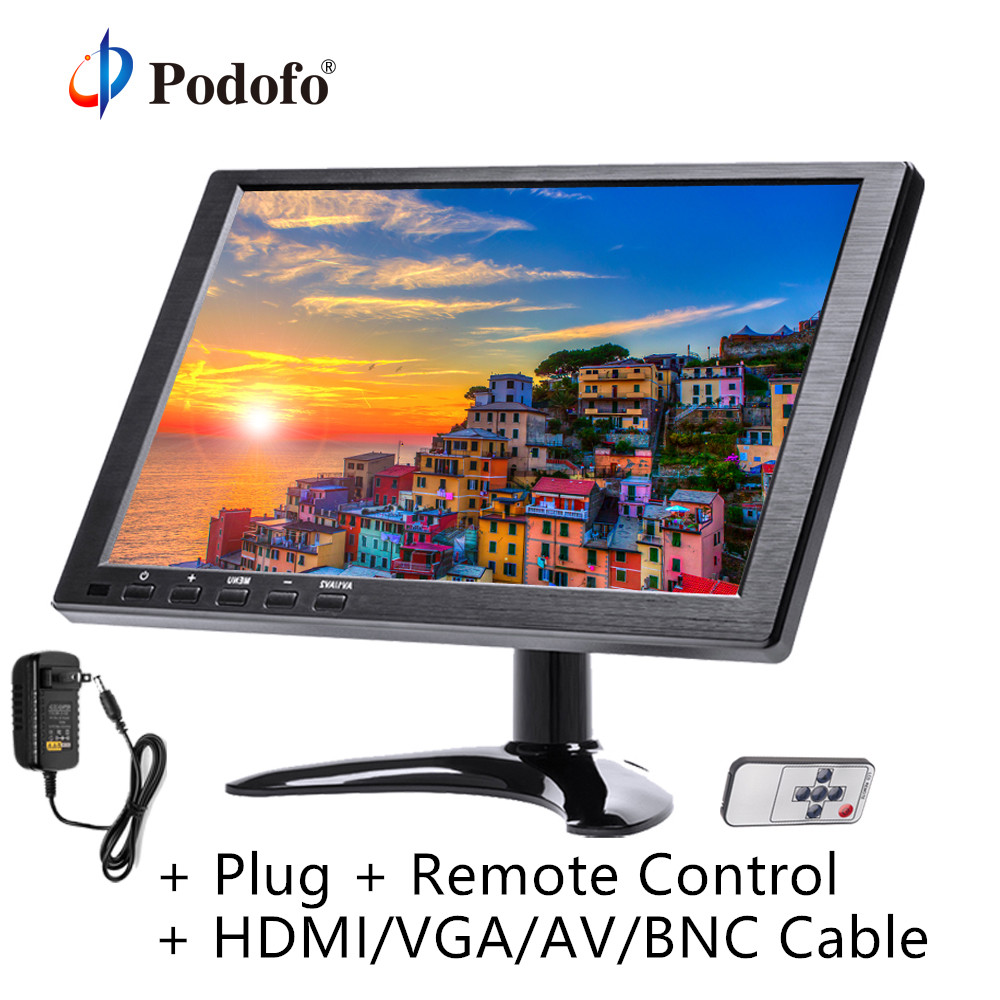 Podofo 10.1 LCD Monitor Mini TV & Computer Display Color HD Screen 2 Channel Video Input Security Monitor With Speaker VGA HDMIPodofo 10.1 LCD Monitor Mini TV & Computer Display Color HD Screen 2 Channel Video Input Security Monitor With Speaker VGA HDMI