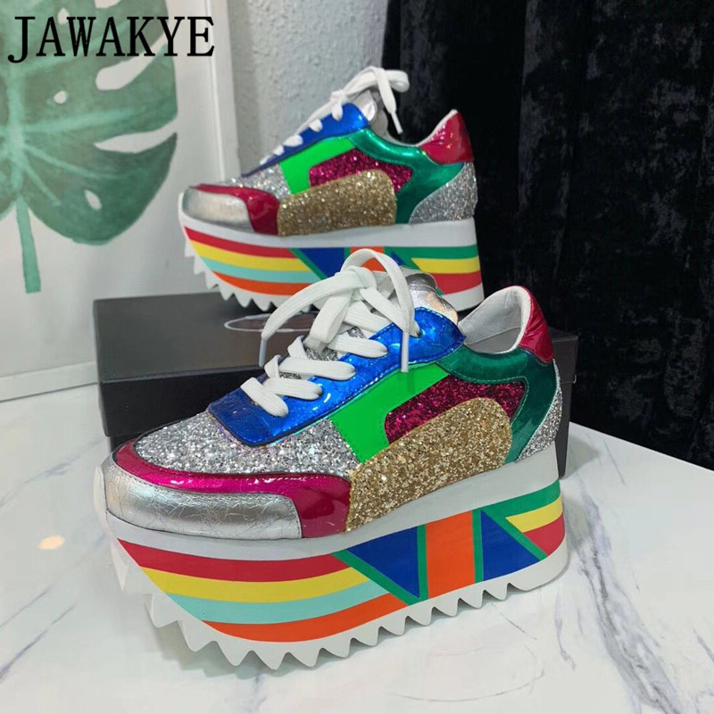 2019 Chaude BlingBling Paillettes Plate-Forme Sneakers Femmes couleur mélangée à lacets Couleur Fond Épais chaussures de sport pour dames chaussures de sport femme