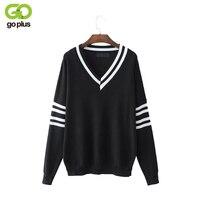 GOPLUS New Deep V Neck Black Sweater Long Sleeves Striped Back To School Spring Autumn Women