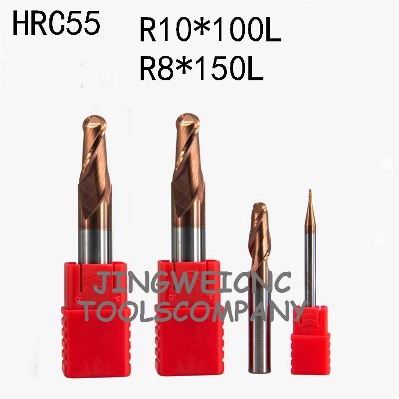 HRC55 Tungsten carbide ball end mill extra long lenth R10*100mm R8*150mm extended long lengthHRC55 Tungsten carbide ball end mill extra long lenth R10*100mm R8*150mm extended long length