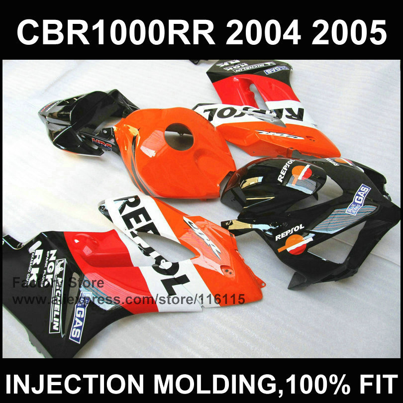 Hot ! Orange red sepsol fairing parts Injection mold for  CBR 1000RR fairings 2004 2005  cbr1000rr 04 05  body repair parts