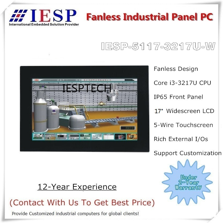 17 Inch Industrial Panel PC, I3 CPU/4GB DDR3/500GB HDD, 5-w Touch Screen, Wide Screen, Fan-less Design  Touch Panel PC